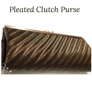 "Handbags - Slant Pleated Shimmer Brown Clutch with 15"" Chain"